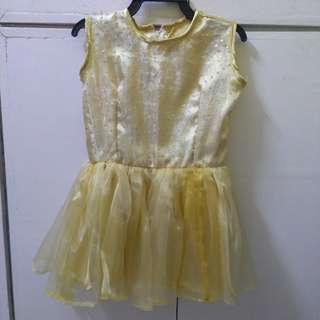 Gold Tutu Dress with Sunflower Head Dress