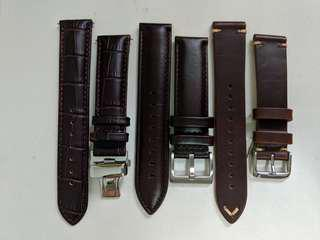20mm brown leather watch strap