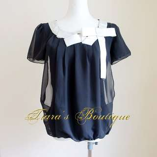 🚚 IRIS 黑色雪紡紗緞帶上衣 白色光澤紗典緞蛋糕裙 兩件不分售 (310) (311)