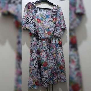 Atmosphere floral dress slight slit for cold shoulder
