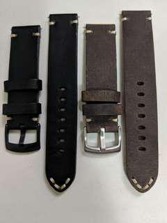 22mm leather watch strap