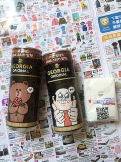 韓國 LINE 熊大 兩罐咖啡 已過期 全要$89
