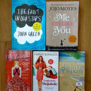 romance modern classics fault in our stars john green, me before you jojo moyes, cecilia ahern, sophie kinsella, judith mcnaught 5for$19.50 (or$5.90each)