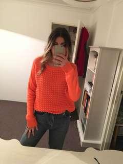 Bardot Orange Textured Jumper