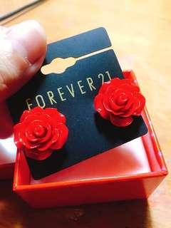 Forever21 玫瑰造型耳環