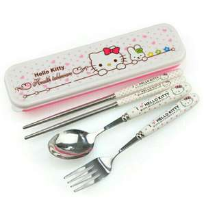 Kitty Stainless Spoon and Fork Case