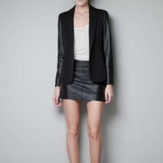 New Zara Blazer - Leather Sleeve