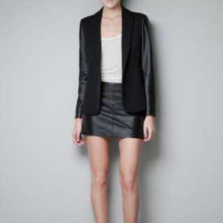New Zara Blazer - Leather Sleeve