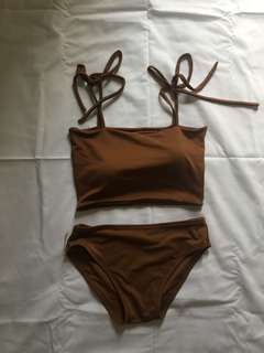 brown swimsuit