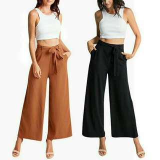 Women Loose Wide Leg Pants Elastic Waist Ankle-Length Long Pants Trousers