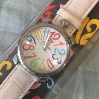 White leather strap colorful watch