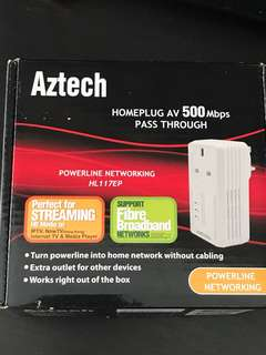 Aztech Homeplug AV 500 Mbps pass through