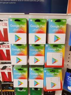 US Google Play gift cards