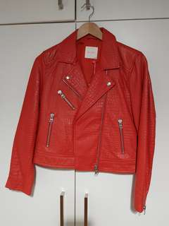 Gorman Biker Leather Jacket Red size 10 BRAND NEW with tags