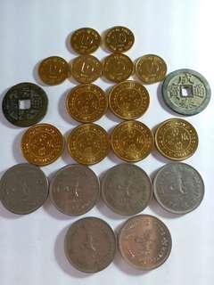 英女皇頭像香港錢幣+古錢幣,合共20個一套