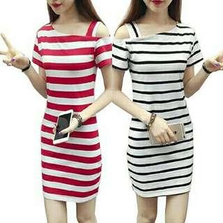 Summer Short Sleeved Dress Striped Dress