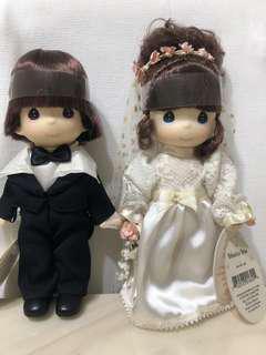 Precious Moments Brunette Bride & Groom