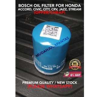 BOSCH OIL FILTER FOR HONDA ACCORD, CIVIC, CITY, CRV, JAZZ, STREAM (OFFER/CHEAP)