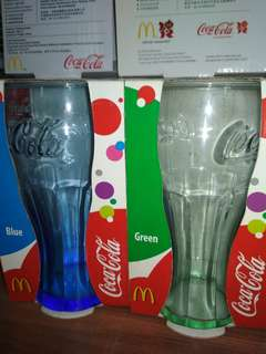 [破低價]$30/2pcs(1set)當勞可口可樂玻璃杯天空藍and綠色