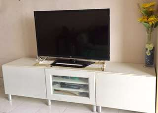 "3D HD LED LG 42"" TV, IKEA 3 cabinet, VCD player"