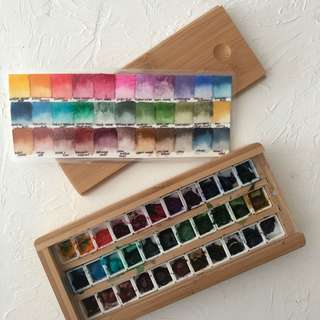 Winsor & Newton Professional Half Pans Bamboo Box Palette