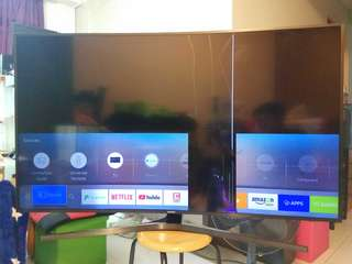 "🚚 CRACKED LED SAMSUNG 55"" TELEVISION UHD 4K CURVED SMART TV KU6500K BROKEN SCREEN PARTS YISHUN"
