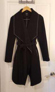 Black Sportsgirl Waterfall Coat with Belt 6 XS S