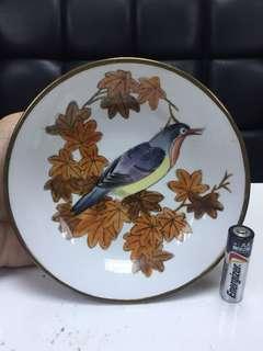 老香港製造 手繪鳥 包銅碟 不連木展示架