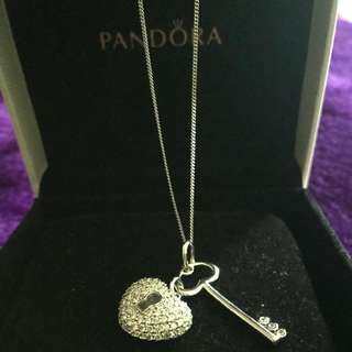 Pandora Necklace Heart & Key Pendant Authentic In Box