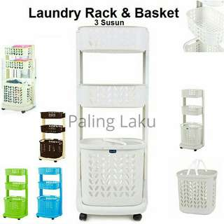 Laundry rack and basket 3 susun