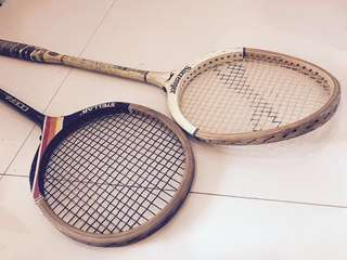 A pair of vintage squash rackets