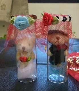 Bride and Groom Teddy Bear In Mini Glass Bottle