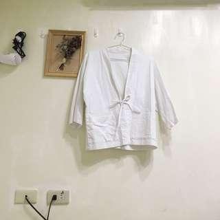 日式白色和服短版外套