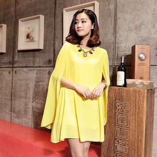 Yellow cloak dress with belt