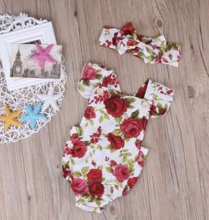 2-piece Red Floral Ruffle Sleeves Bodysuit and Headband for Baby Girl