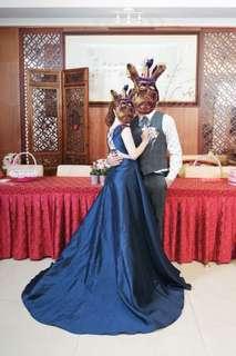 🚚 二手禮服 深藍色 適合宴客或表演穿 露背超美