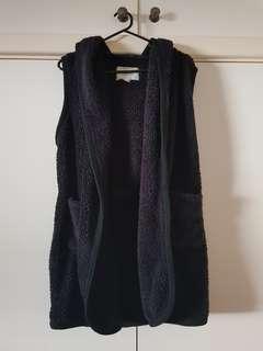 BRAND NEW Hooded Black Fleece Vest Size 10/M (fits XS-S)