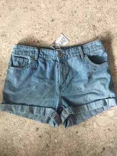 BNWT Warehouse Turn Up Denim high waisted shorts