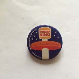 Rare Burger King King of the Whopper, 15th Anniversary Pin/Badge, 1997, 1.4""