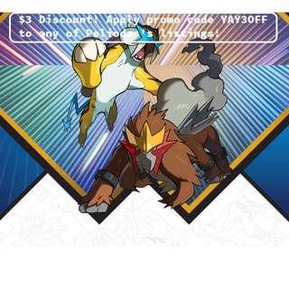 🚚 (1 day $3 off sale, select buy now & apply promo code YAY3OFF) Entei & Raikou codes for SEA/NA Pokemon Sun & Moon/Ultra Sun & Ultra Moon