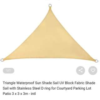 Triangle waterproof sun shade sail 3m x 3m x 3m