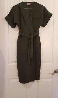 Olive green kimono dress 8 XS S