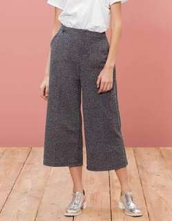Stradivarius Gray Pin Striped Culottes
