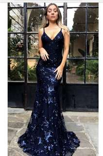 Sparkly navy formal dress for hire