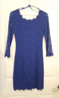 Blue full lace Diane von Furstenberg cocktail formal dress 8 XS S