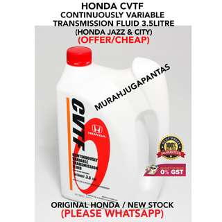 Honda CVTF  Continuously Variable Transmission Fluid 3.5LITRE (HONDA JAZZ & CITY) (OFFER/CHEAP)