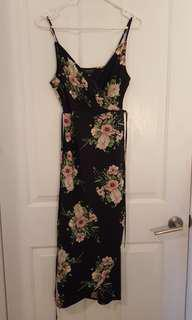 Black pink floral Topshop wrap dress 6 XS S