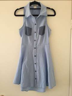 Denim dress with open back