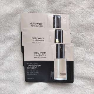 🚚 Missha Daily Wear Foundation Samples