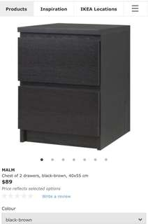 IKEA MALM Chest of 2 drawers in black-brown